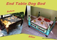 Lucy Designs: Dog Bed from an End Table - Blues and Greens with Floral Cushion