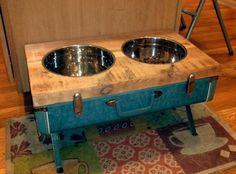 DIY: Raised Dog Bowls from Vintage Suitcase