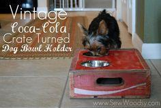 vintage coca-cola crate turned dog bowl #vintage #DIY#woodworking #tutorial