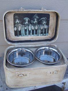 old plaid travel suitcase dog feeder
