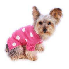French Pink Polkadot Dog Pet Sweater, Rolled Neckline, Soft