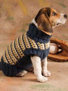 Doggie will love to step out in style with this dapper sweater. Fits dog sizes: small(medium, large, extra-large) Skill level: Intermediate