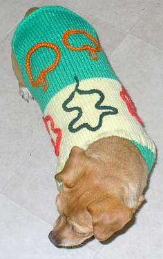 Basic knitted dog sweater pattern that can be adapted for many dog sizes and themes.