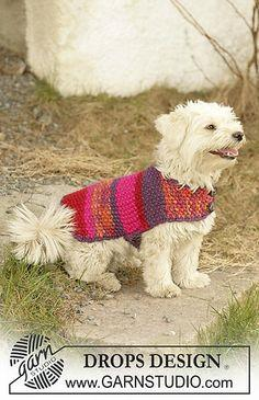"dog coat knitted in Moss stitches with ""Eskimo"""