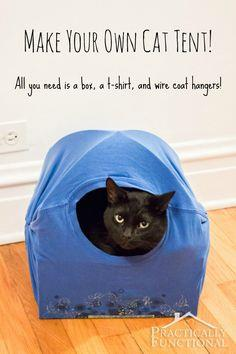 DIY Cat Tent Bed All you need is a box a t-shirt & DIY Cat Tents - 35 Free Cat Tent Patterns or Instructions